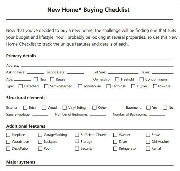 Buying A House Checklist Template Sample New Apartment Checklist – 8 Documents In Pdf Word