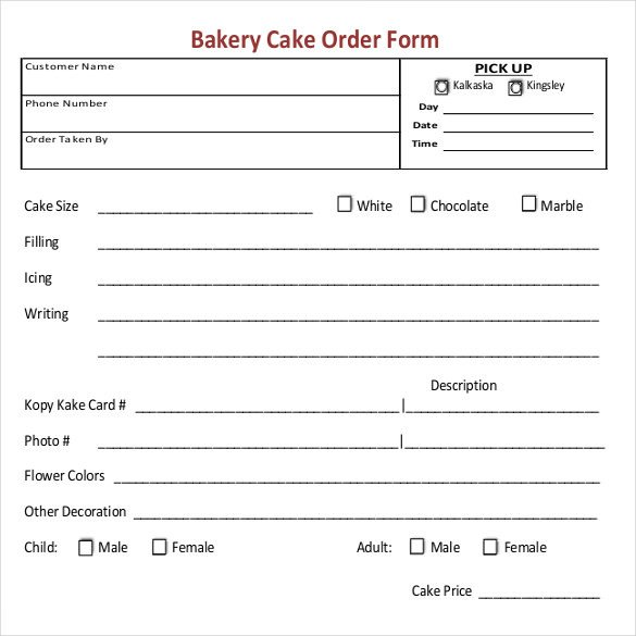 Cake order forms Templates 16 Bakery order Templates Google Docs Pages