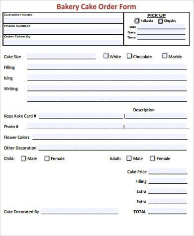 Cake order forms Templates 7 Cake order form Sample 7 Examples In Word Pdf