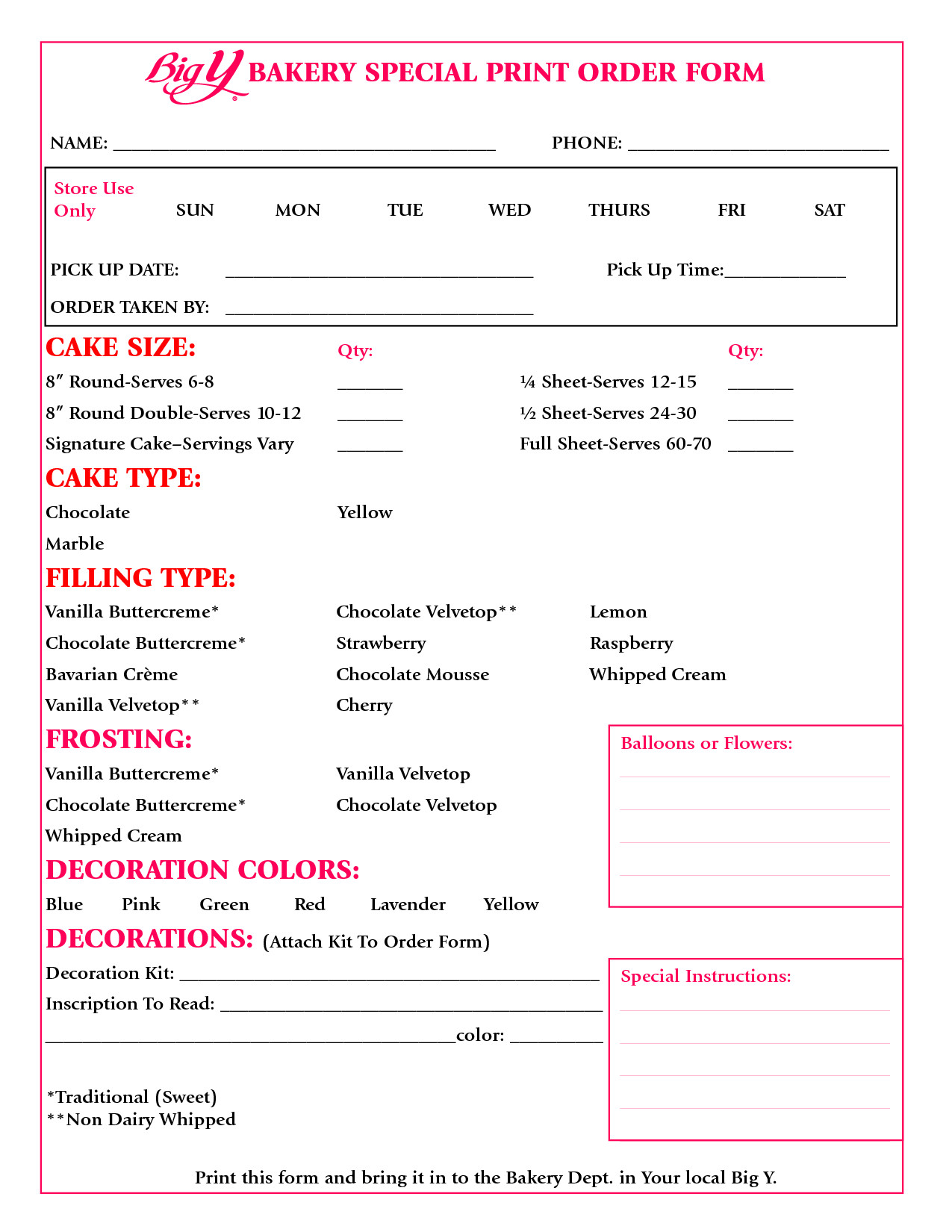 Cake order forms Templates Cake order form Google Search