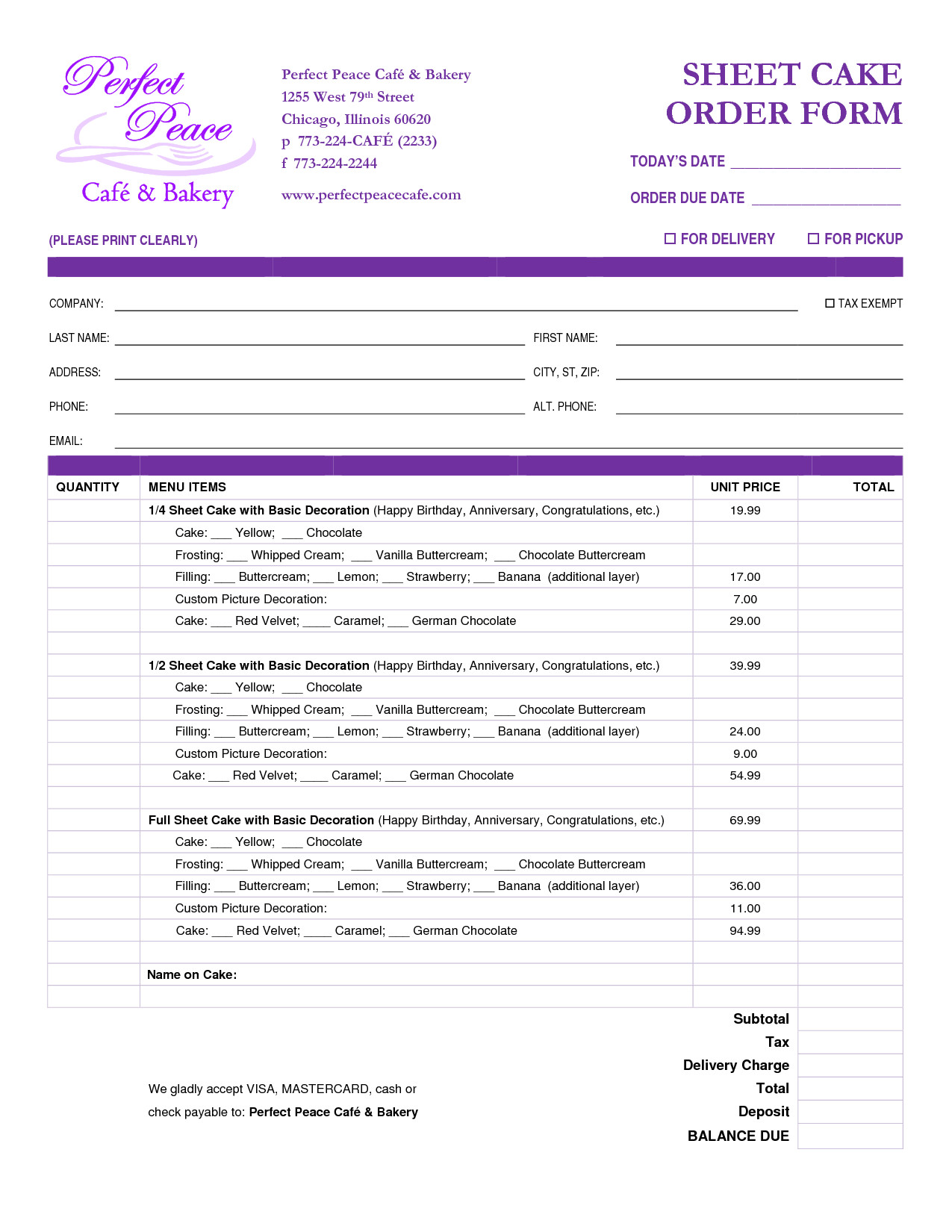 Cake order forms Templates Cake order form Template Free Google Search