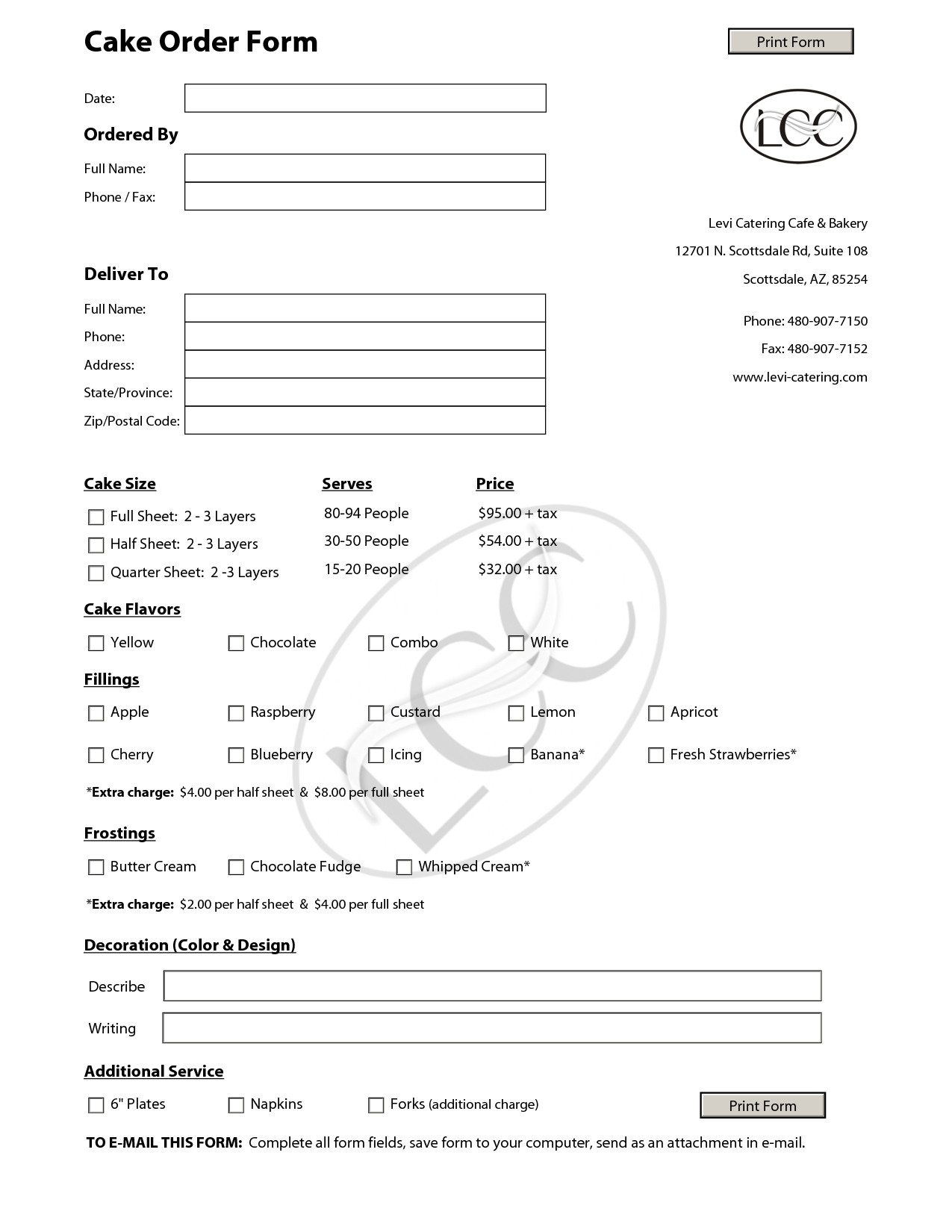 Cake order forms Templates Cake order forms On Pinterest