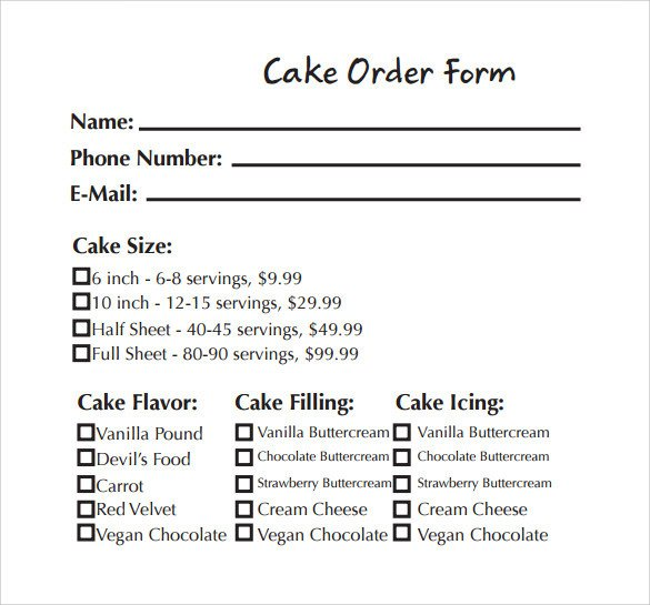 Cake order forms Templates Sample Cake order form Template 13 Free Documents