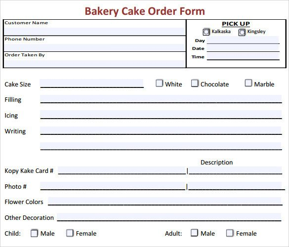 Sample Cake Order Form Template 16 Free Documents