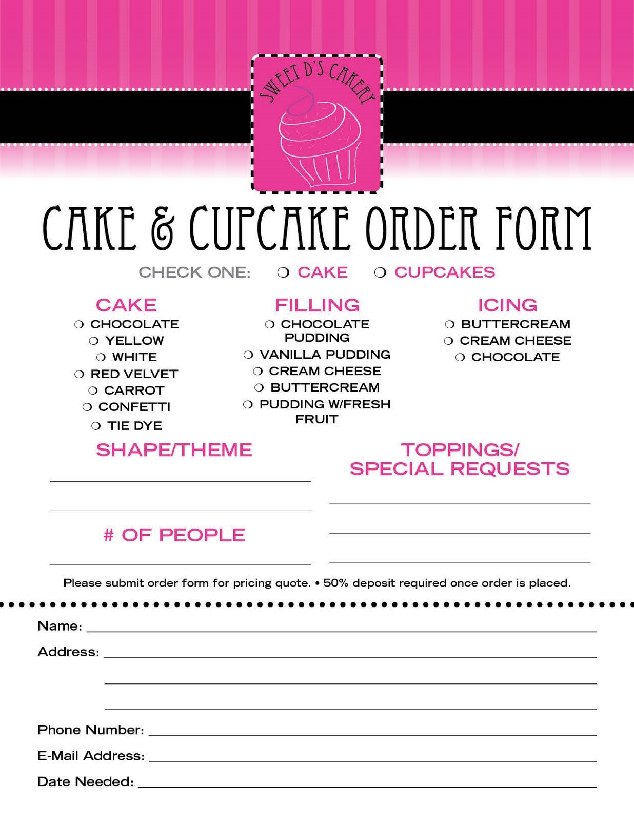 Cake order forms Templates Sweet D S Cakery Download Our order form Here