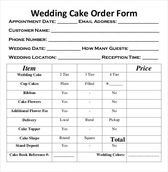 Cake order forms Templates Wedding order Template – 38 Free Word Pdf Psd Vector
