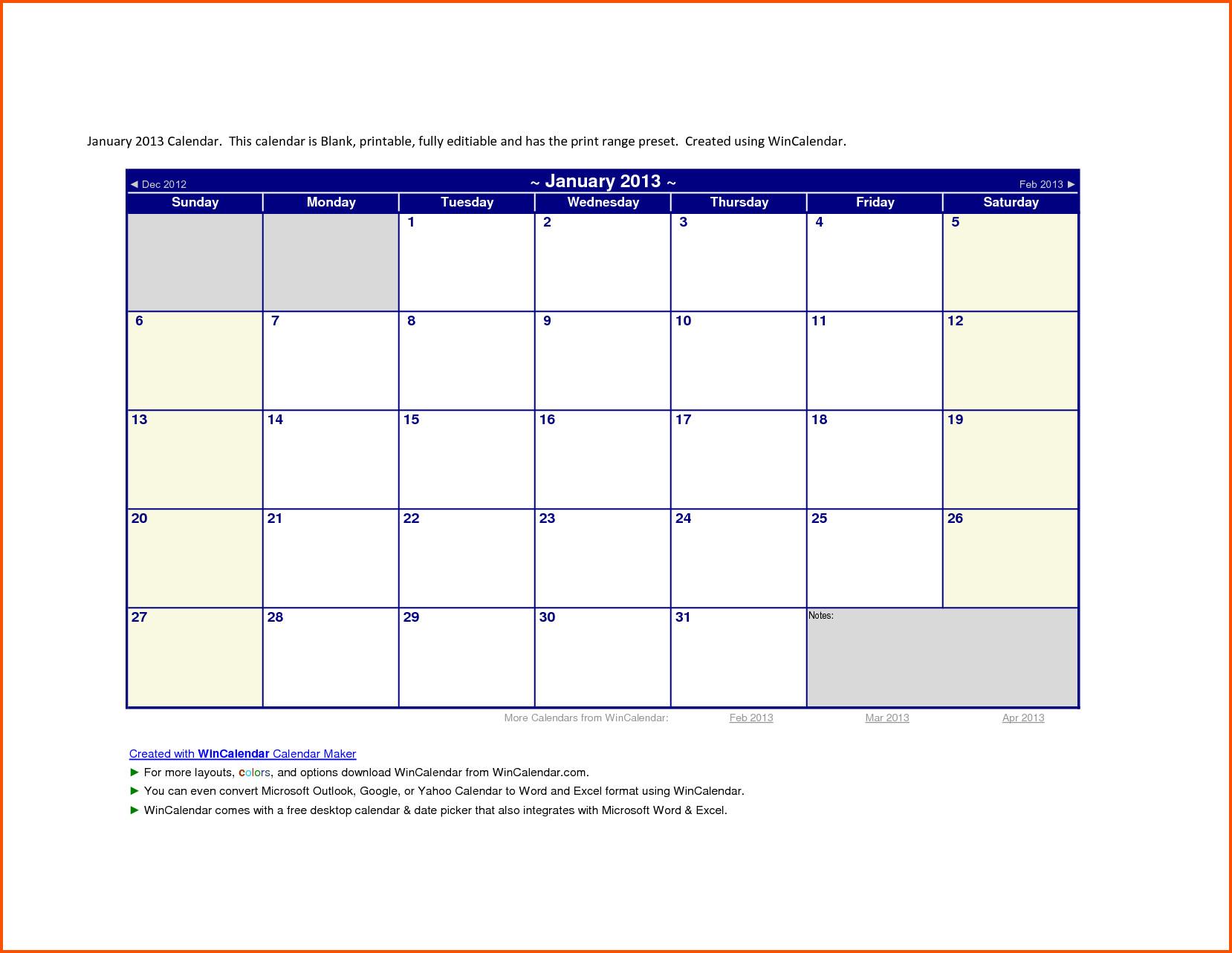 Calendar Template for Word 2013 Calendar Template Word