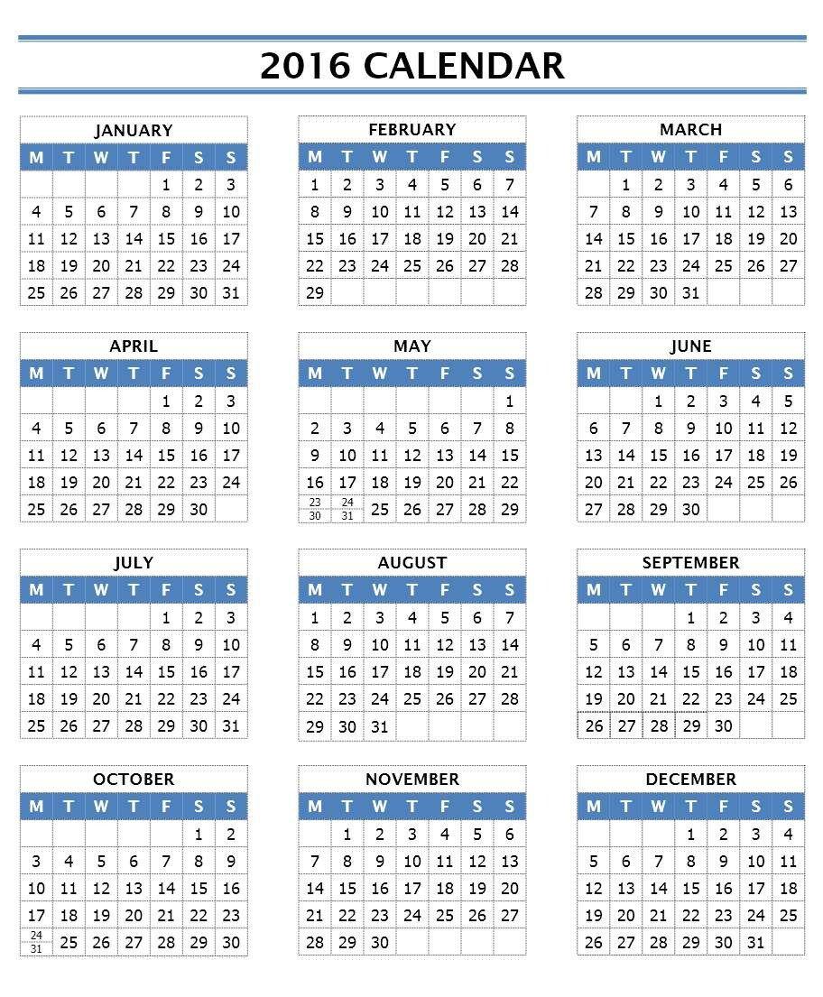 Calendar Template for Word 2016 Calendar Templates