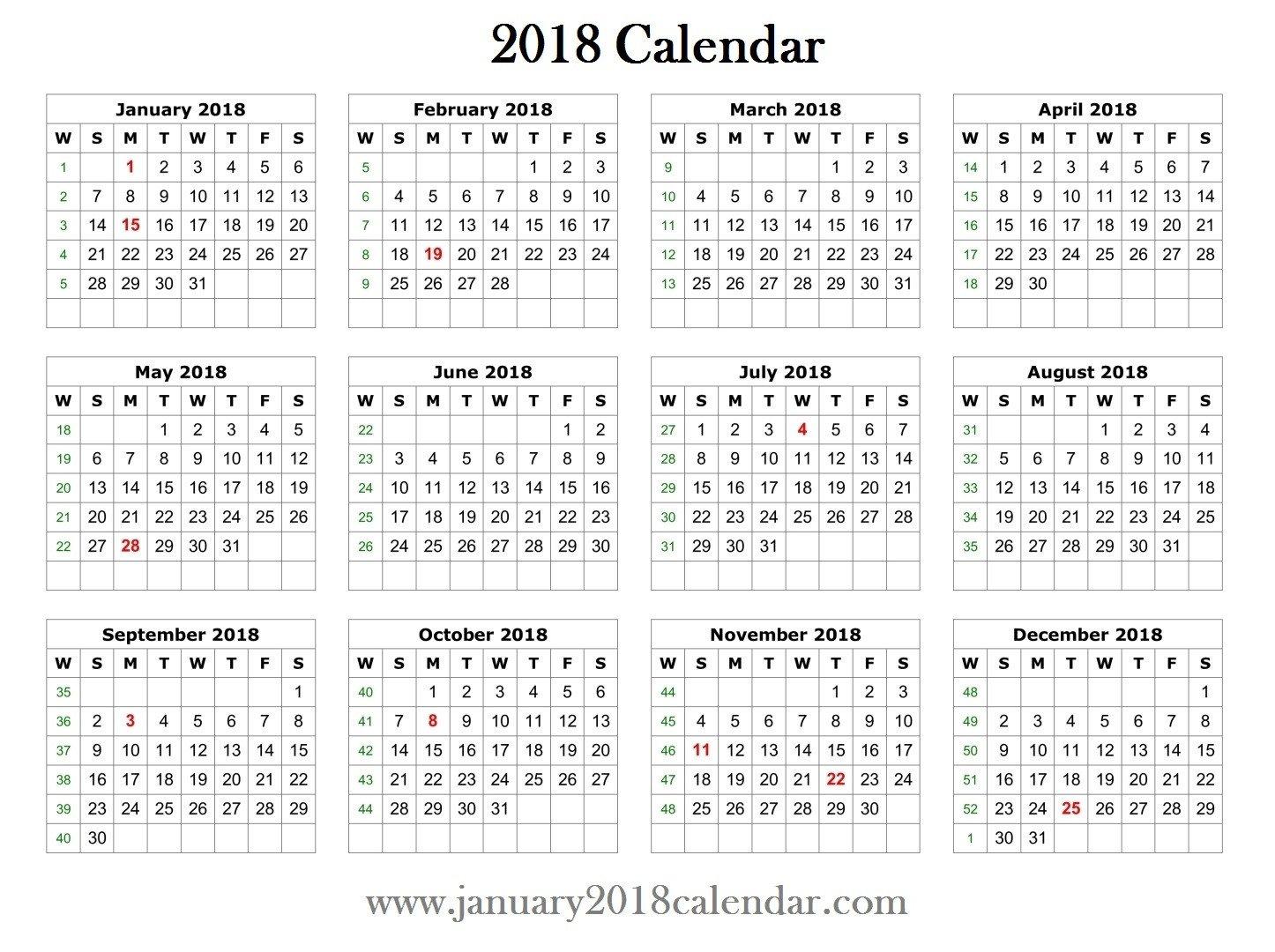 Calendar Template for Word 2018 Printable Word Calendar Template