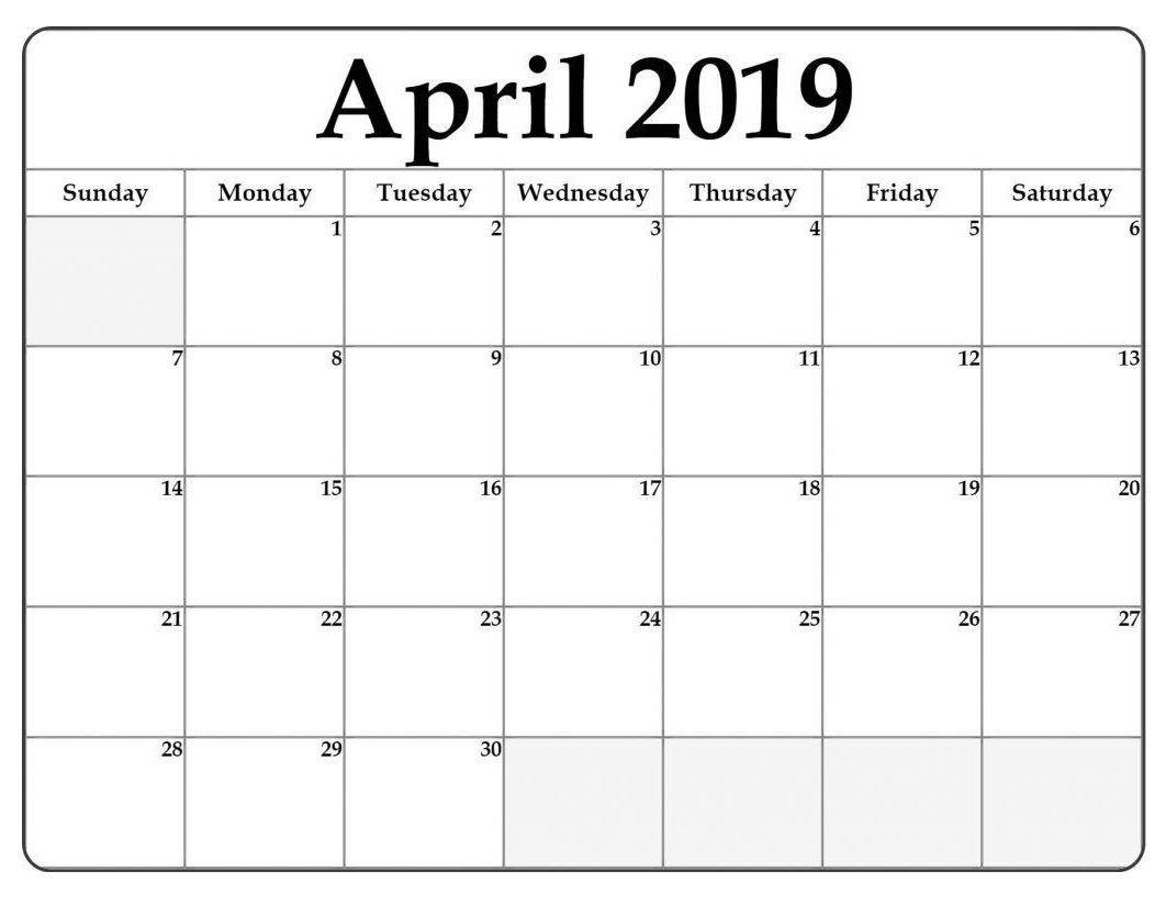 Calendar Template for Word April 2019 Word Calendar Template