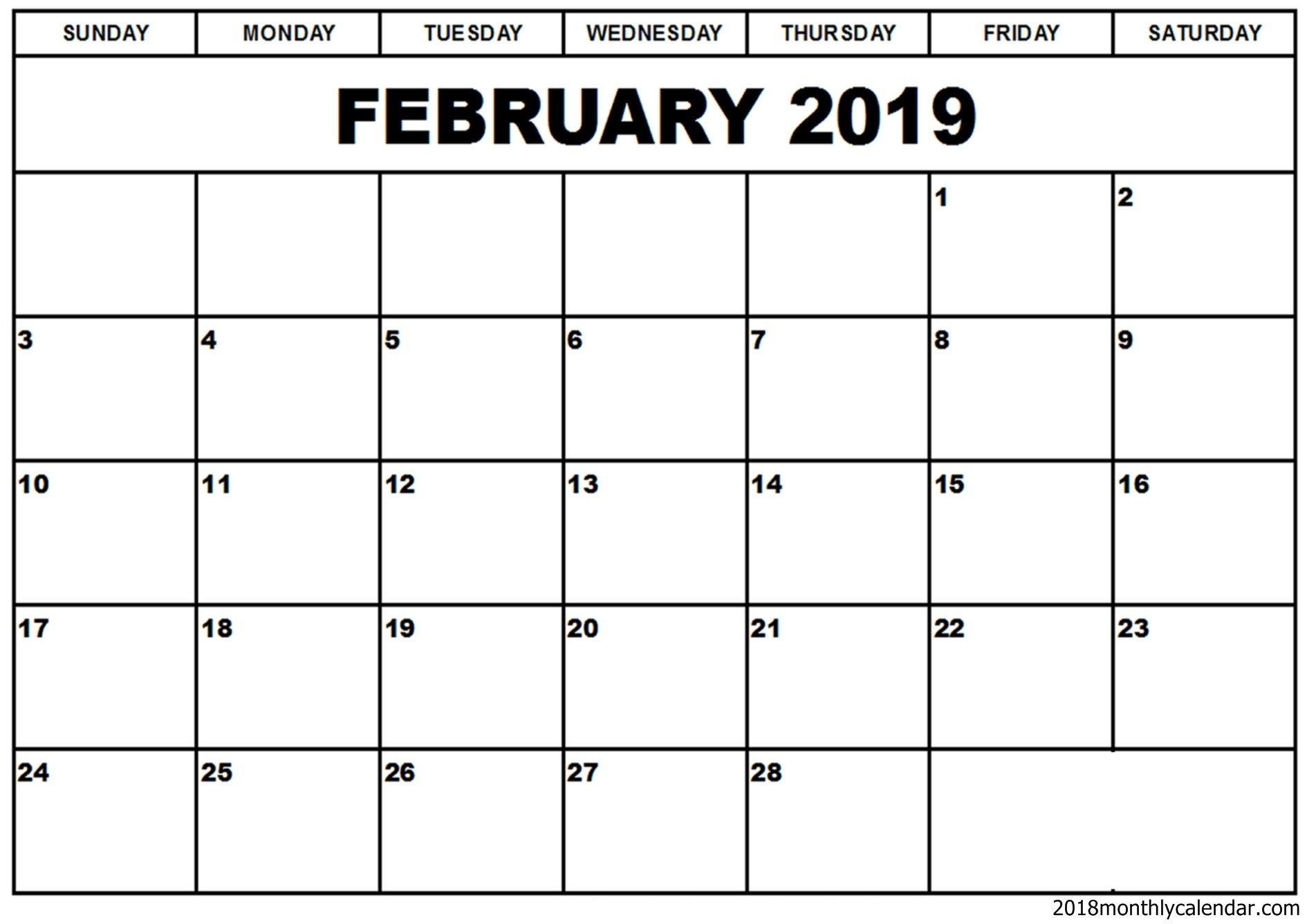 Calendar Template for Word February 2019 Calendar Word Template