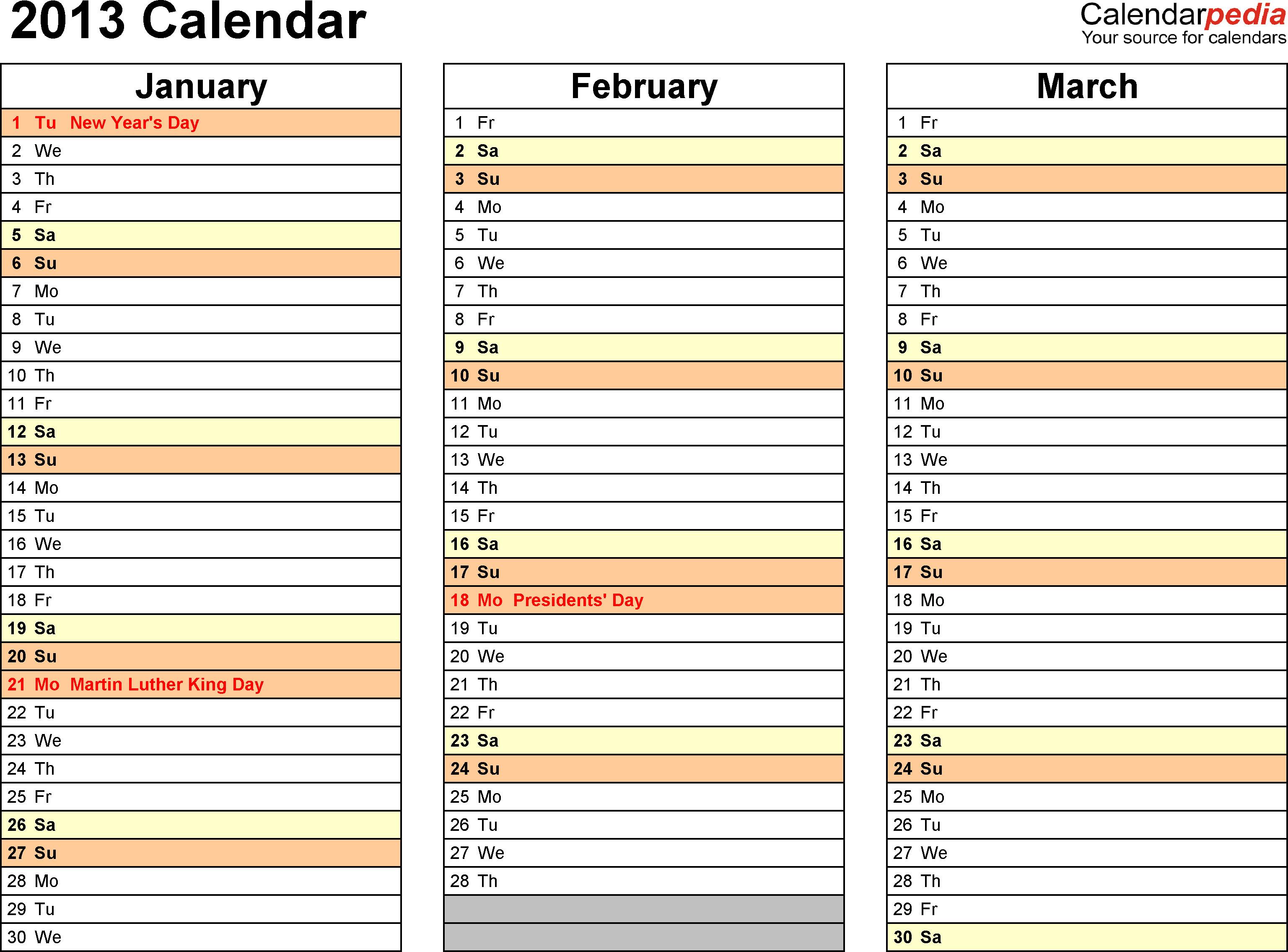 Calendar Template for Word Free Calendar Template 2013