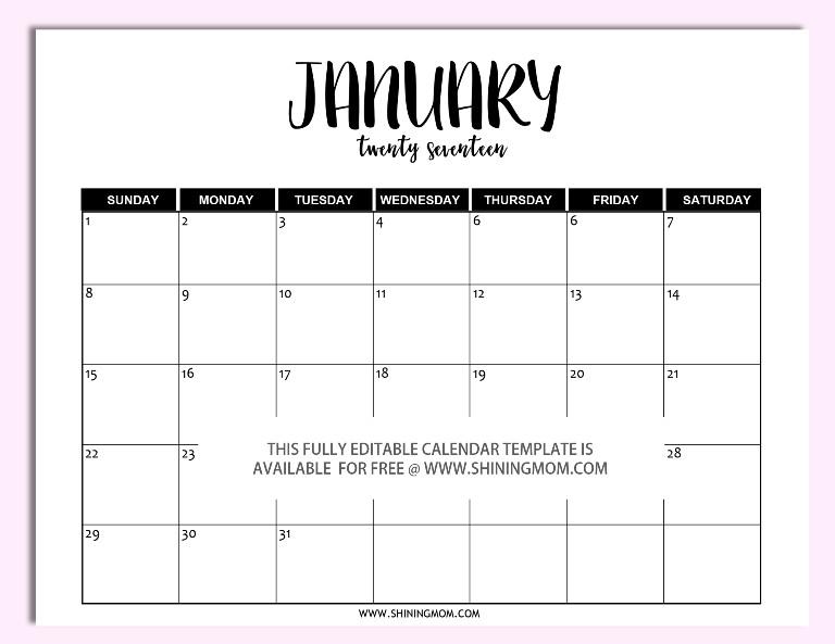 Calendar Template for Word Free Printable Fully Editable 2017 Calendar Templates In