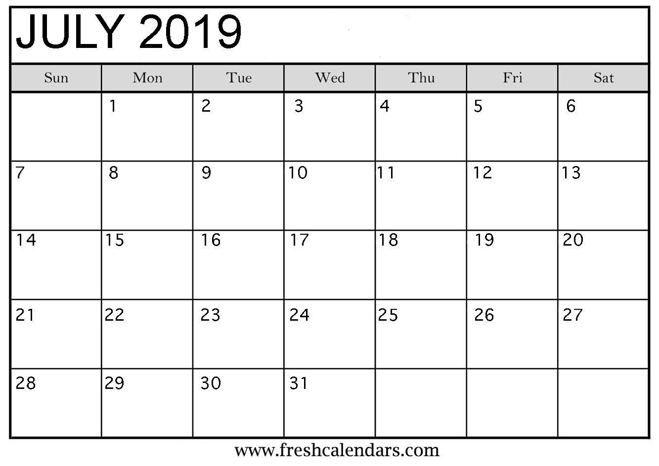 Calendar Template for Word July 2019 Calendar Printable Fresh Calendars