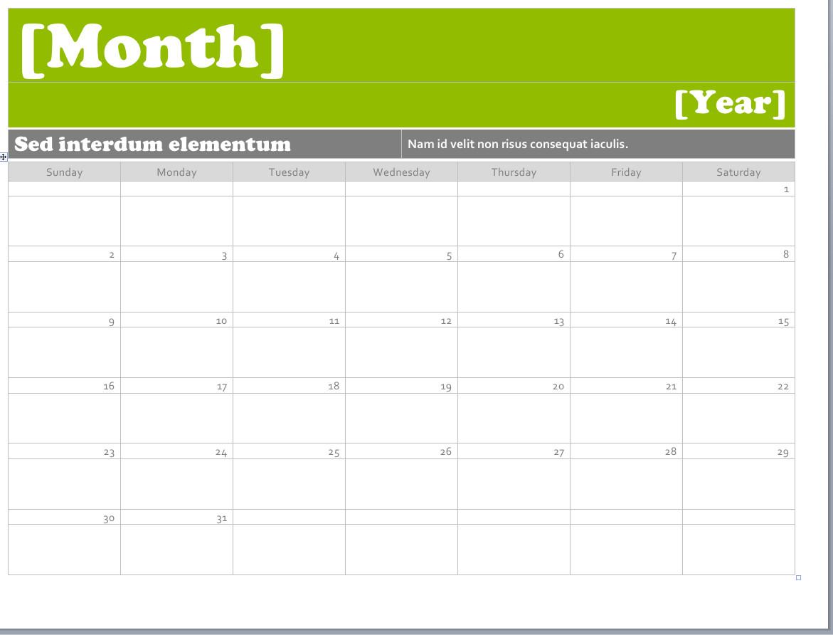 Calendar Template for Word Ms Word Calendar Templates Montly Calendar