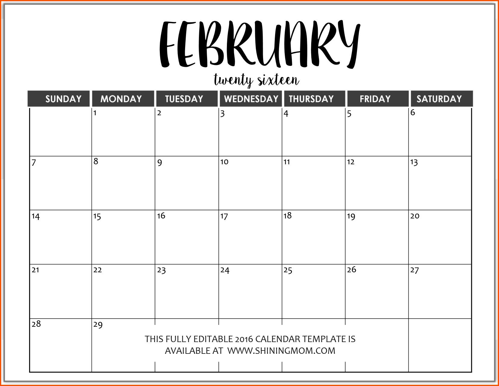 Calendar Template for Word Word Calendar Template