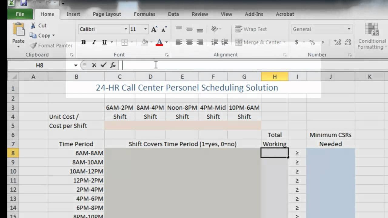 Call Center Staffing Model Template Call Center Staffing and Cost Reduction Using Excel