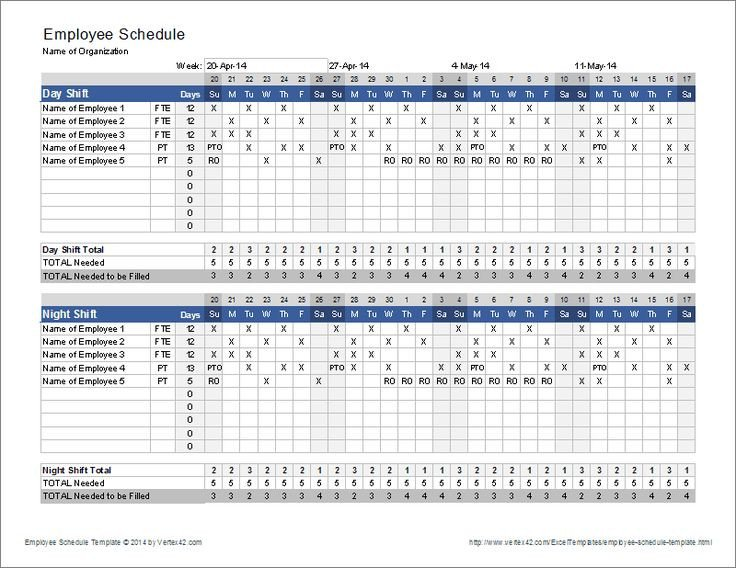 Call Center Staffing Model Template Download the Employee Schedule Template From Vertex42