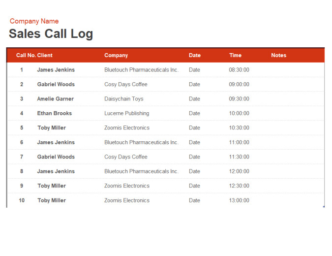 Call Log Template Excel Sales Call Log and organiser