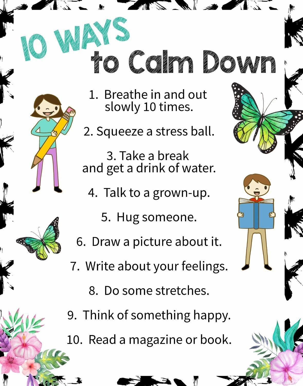Calm Down Sandwich Template 10 Ways to Calm Down A Free Printable Poster