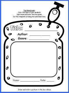 Calm Down Sandwich Template Cheeseburger Book Report Project Templates Printable