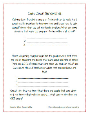 Calm Down Sandwich Template Creating A Strategy Sandwich Picnic & Lunch Bunch the