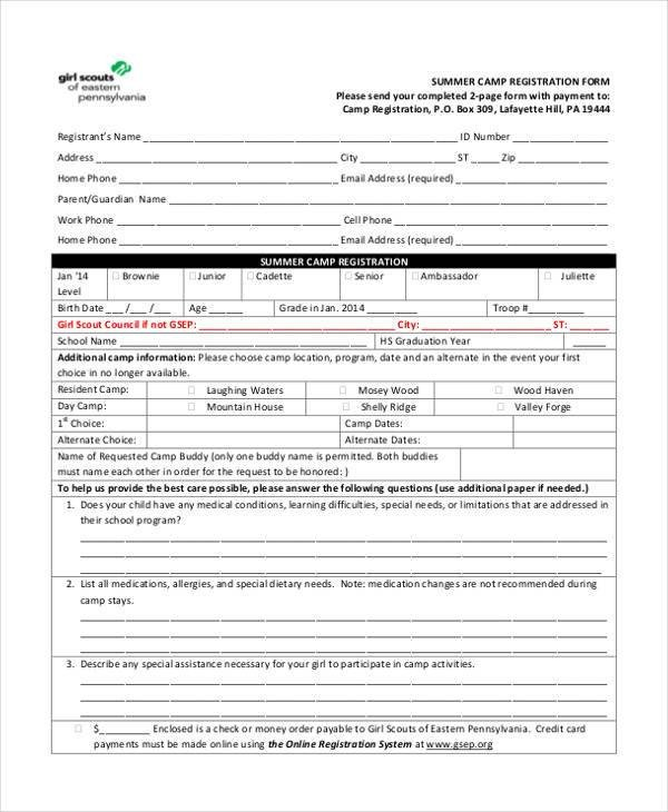 Camp Registration forms 10 Summer Camp Registration form Samples Free Sample