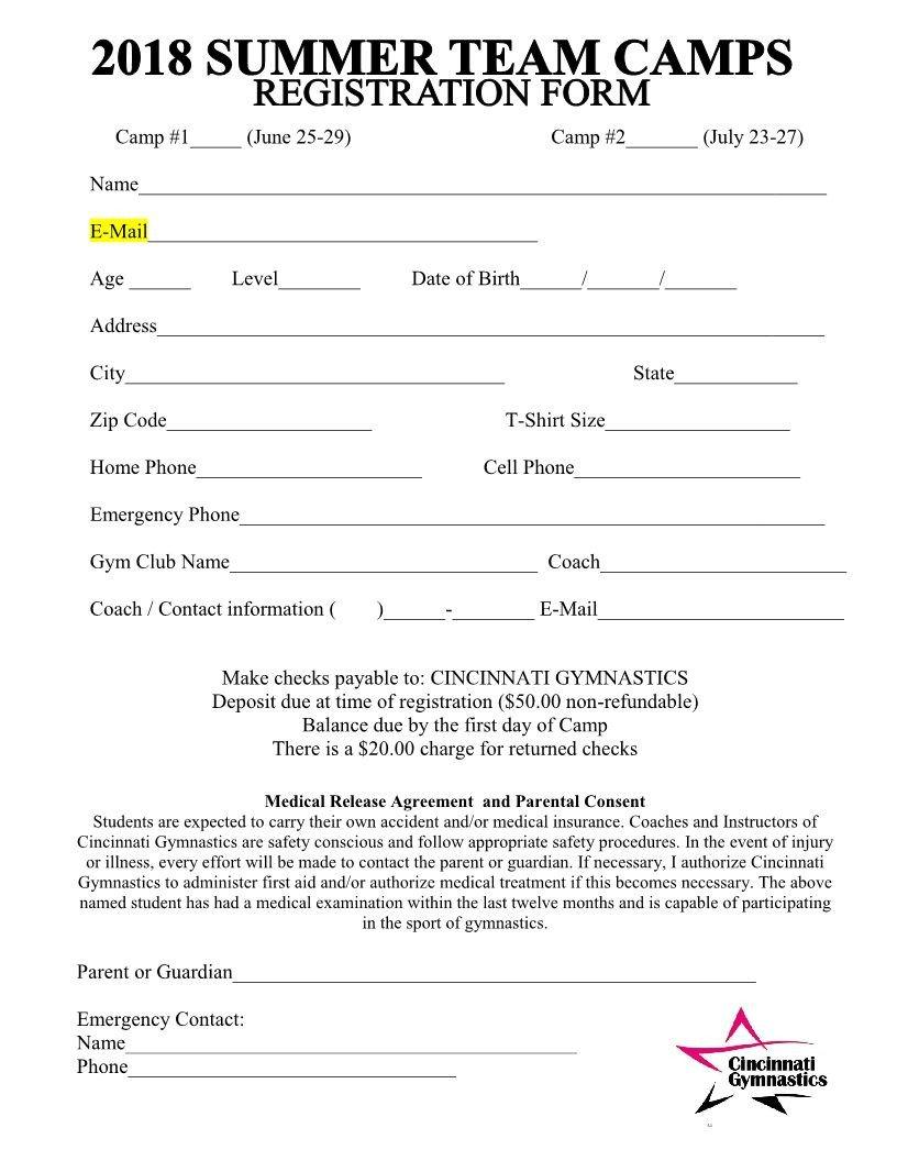 Camp Registration forms 2018 Summer Team Camps Registration form Cincinnati
