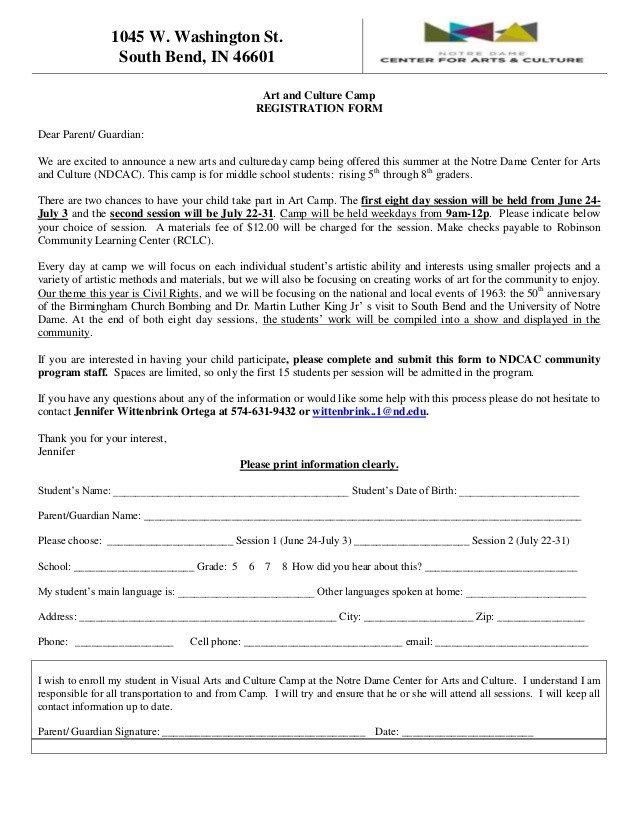 Camp Registration forms Art Camp Registration form