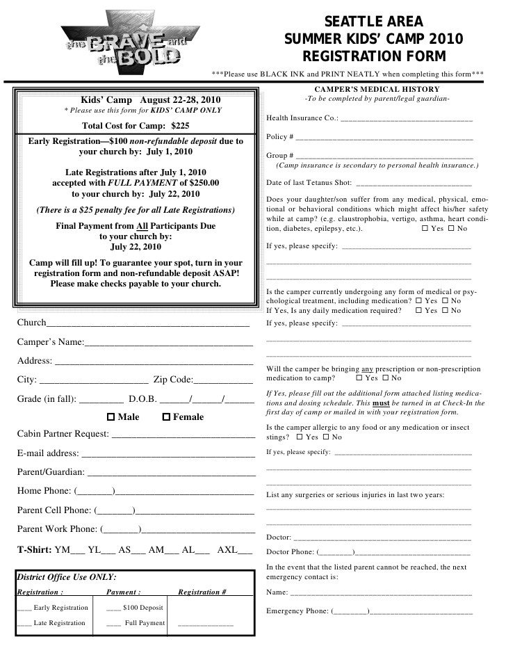 Camp Registration forms Kids Camp Registration form