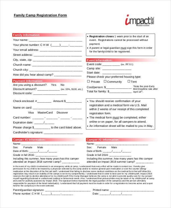 Camp Registration forms Sample Camp Registration form 11 Free Documents In Pdf