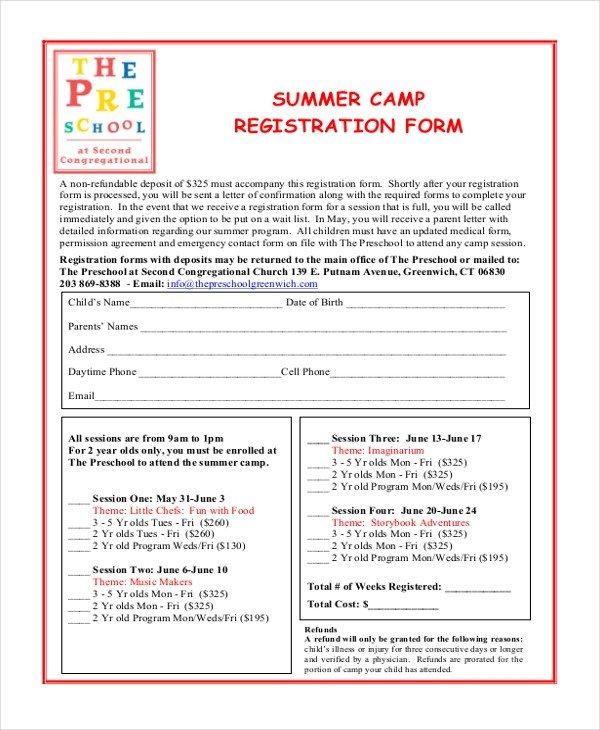 Camp Registration forms Sample Summer Camp Registration form 10 Free Documents
