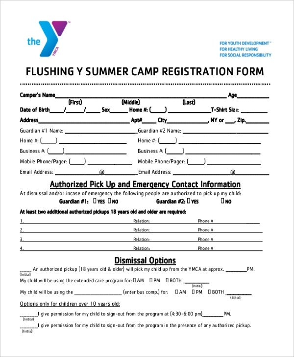Sample Summer Camp Registration Form 10 Free Documents