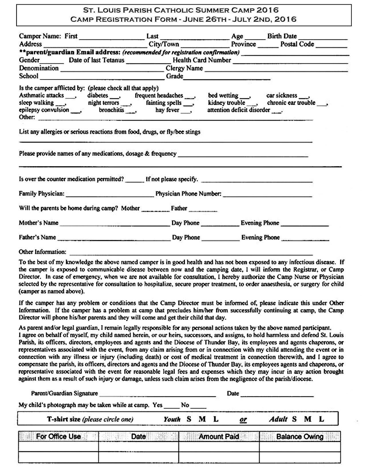 Camp Registration forms St Louis Summer Camp Registration form – Saint Louis Church