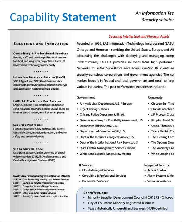 12 Capability Statement Template Word PDF Google Docs