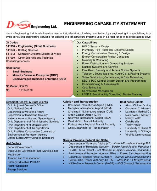 Capability Statement Template Free 12 Capability Statement Template Word Pdf Google Docs
