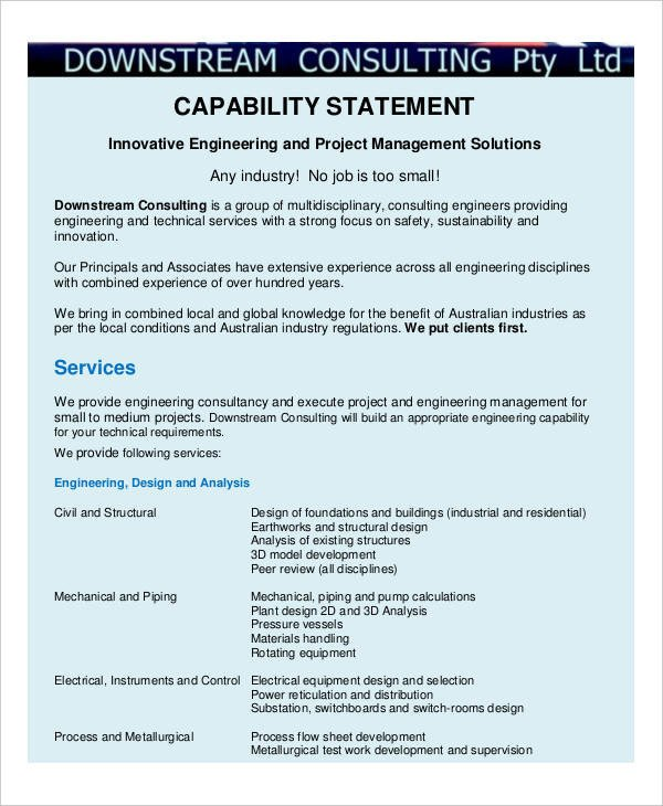 Capability Statement Template Free 13 Capability Statement Examples & Samples Doc Excel