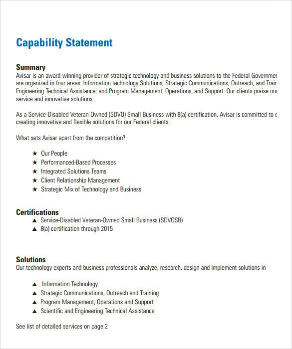 Capability Statement Template Free 14 Capability Statement Templates Pdf Word Pages