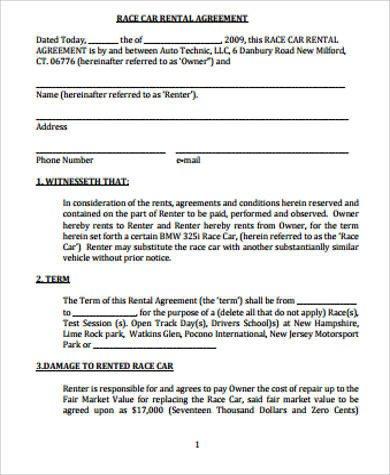 Car Rental Agreement Template 8 Car Rental Agreement Samples Free Word Pdf format