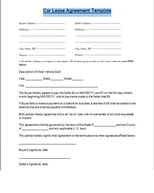 Car Rental Agreement Template Car Lease Agreement format Word and Pdf Excel Tmp