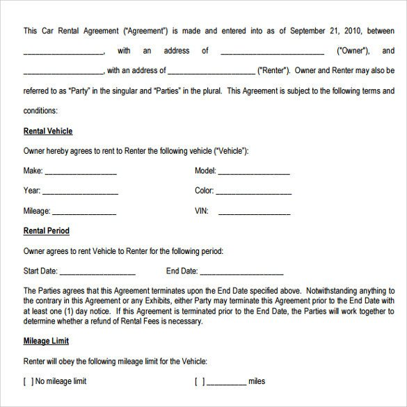 Car Rental Agreement Templates 12 Free Documents in PDF