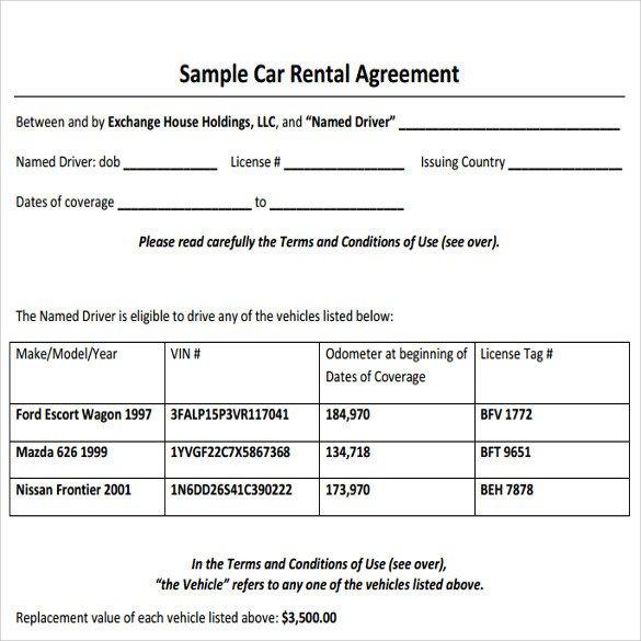 Car Rental Agreement Template Sample Car Rental Agreement 12 Documents In Pdf Word