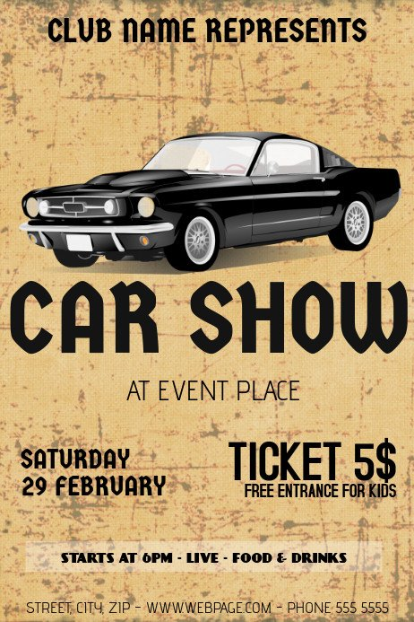 Car Show Flyer Template Free Old Retro Vintage Car Show Flyer Template