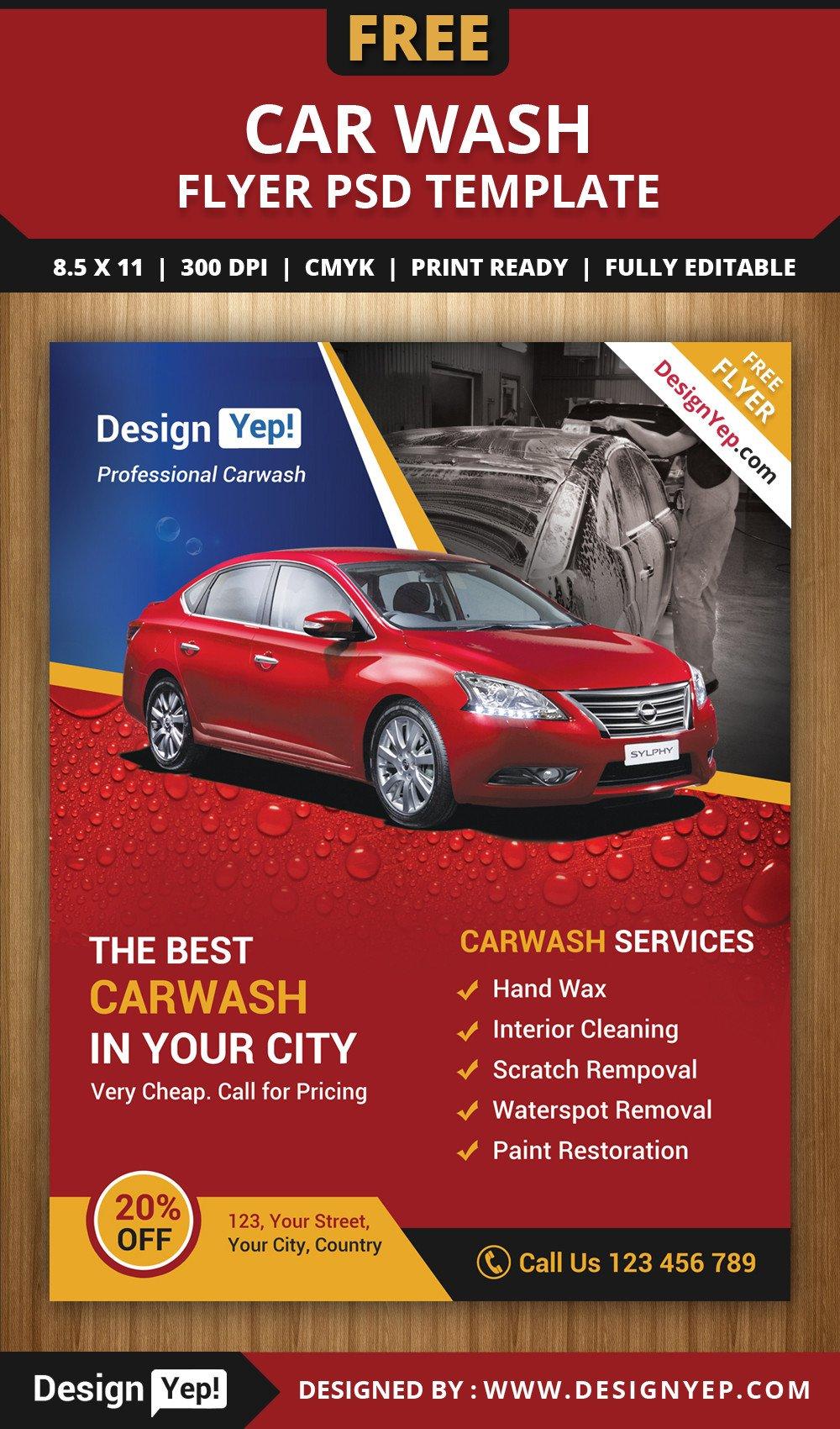Car Wash Flyers Template Free Car Wash Flyer Psd Template Designyep