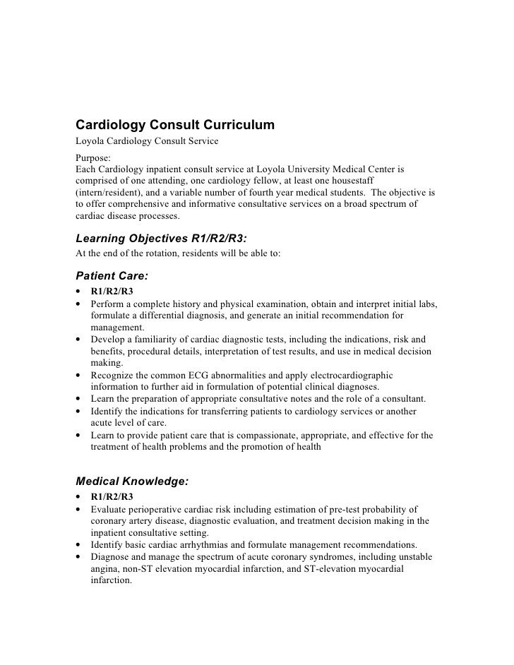 Cardiology Consult Template Cardiology Consult Curriculum