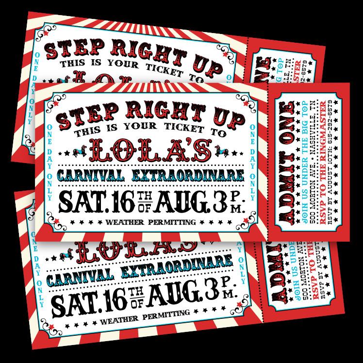 Carnival Ticket Invitation Template Free Vintage Carnival Ticket Invitations – Ian & Lola Design