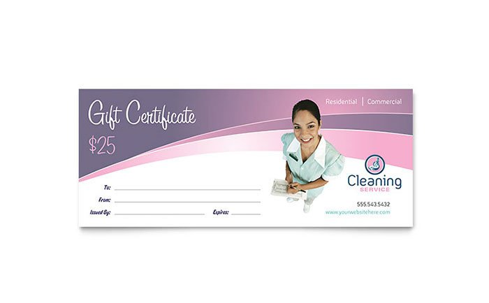 Carpet Cleaning Gift Certificate Template House Cleaning & Maid Services Gift Certificate Template