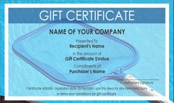 Carpet Cleaning Gift Certificate Template Pool and Spa Cleaning Gift Certificate Templates