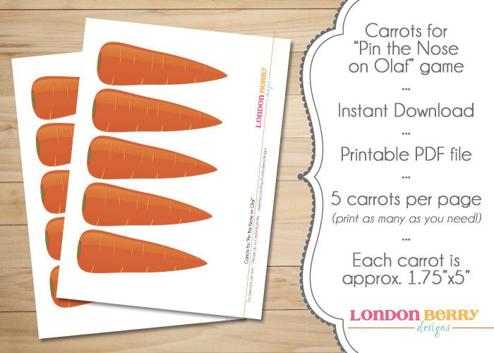 Carrot Nose Printable Snowman Carrot Noses Instant Download
