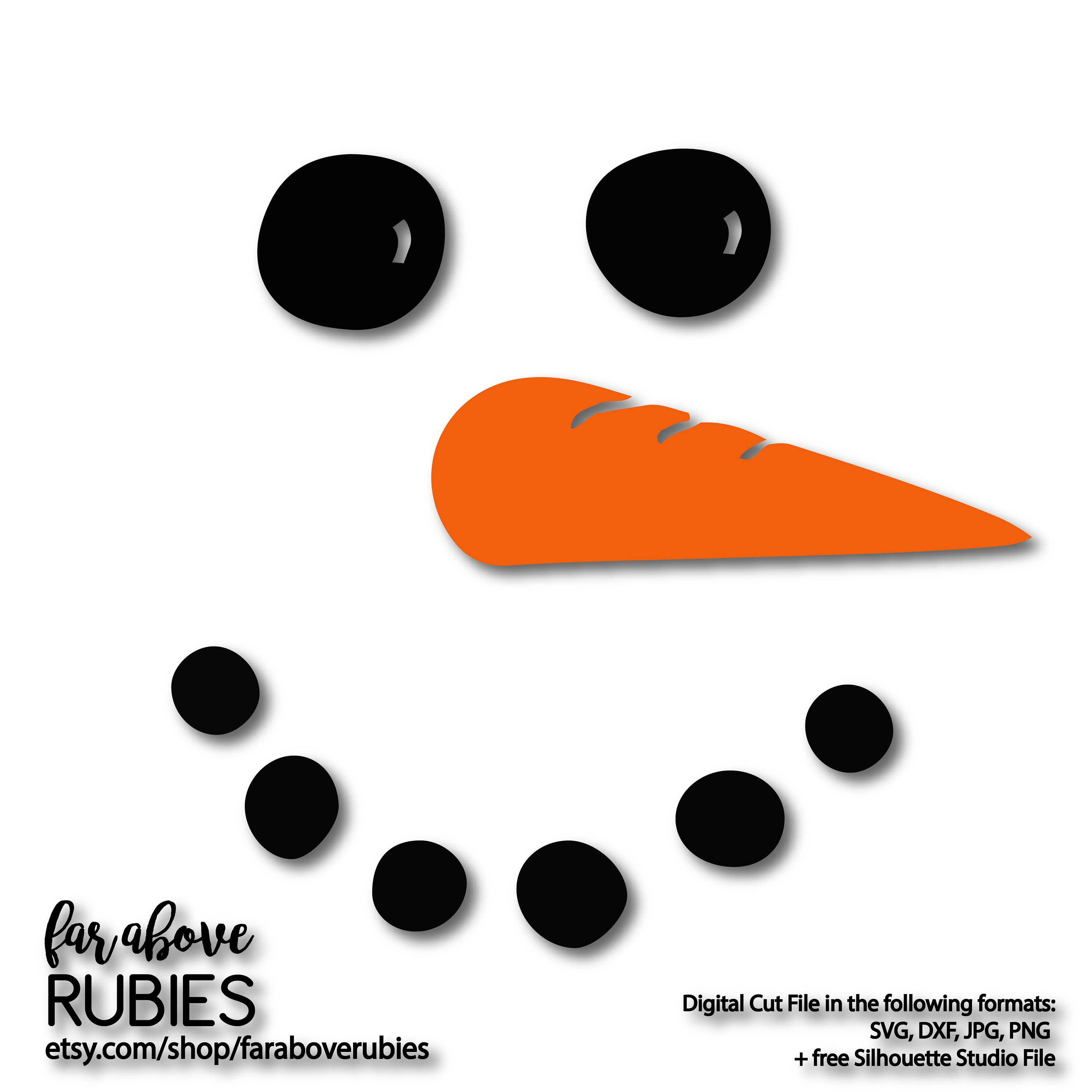 Carrot Nose Printable Snowman Face with Carrot Nose Svg Eps Dxf Png Digital